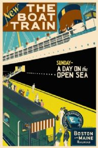 Vintage shipping poster, The boat train; Boston and Maine